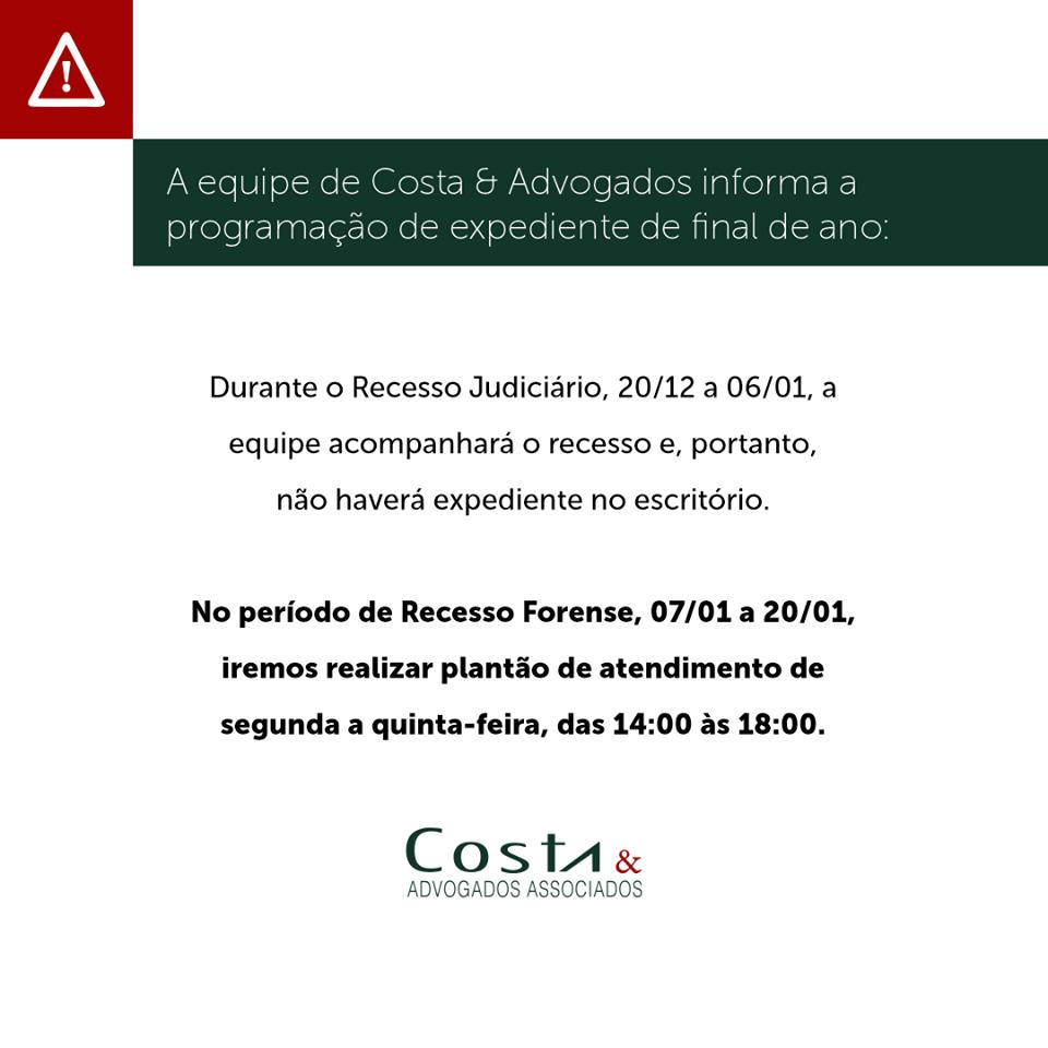 Costa & Advogados : Expediente de Final de Ano
